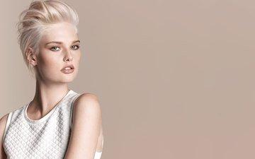 девушка, блондинка, портрет, прическа