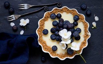 ягоды, вилки, пирог, цветки, голубика, тарт