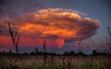 облако, пыль, извержение, вулкан, чили, анды, кальбуко