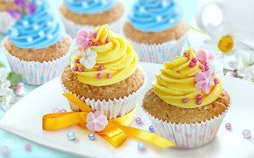 цветы, сладкое, украшение, выпечка, бант, кексы