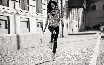 girl, the city, street, legs, walk