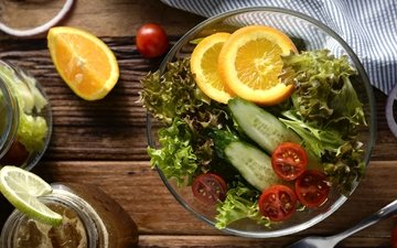 апельсин, овощи, помидор, салат, огурец