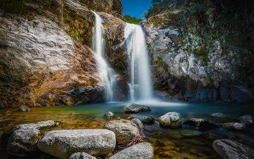 скала, водопад, франция, каскад-дез-англе, лангедок-руссильон