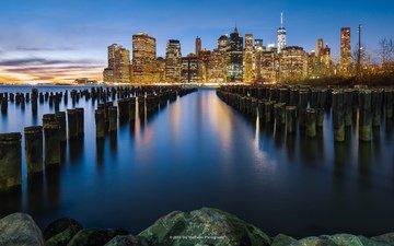 отражения, утро, город, сша, нью-йорк, манхэттен, raul хадсон
