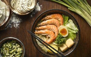 овощи, яйцо, креветки, суп