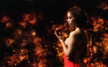 девушка, огонь, профиль, яблоко