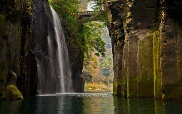 скалы, мост, водопад, япония, ущелье такатихо, кюсю
