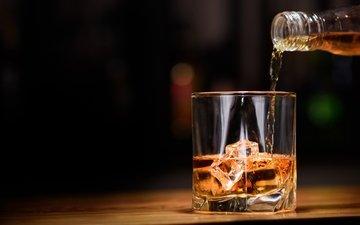 лёд, стакан, алкоголь, виски