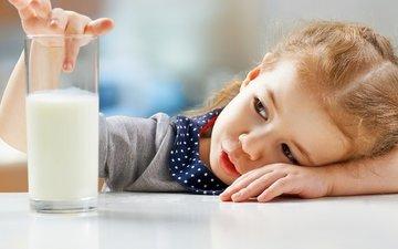 девочка, ребенок, девочки, молоко, маленькая, молока