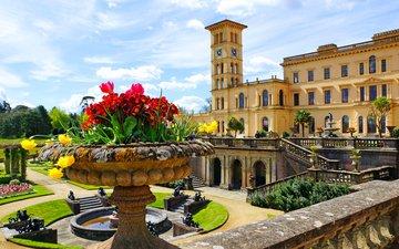 цветы, дизайн, парк, великобритания, фонтан, дворец, лестницы, газон, osborne house, queen victorias residence