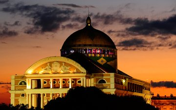 ночь, огни, бразилия, зарево, театр, манаус, амазонас