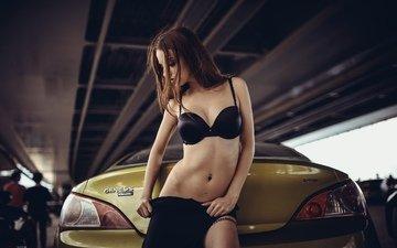 girl, machine, brunette, skirt, panties, model, tattoo, sweetheart, figure, piercing, thong, bra, beautiful, slim