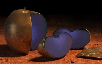 metal, apple, blue, 3d