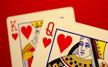 макро, карты, король, дама, черви