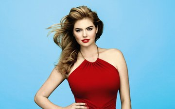 background, dress, pose, model, actress, makeup, in red, beautiful, sexy, kate upton