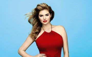 фон, платье, поза, модель, актриса, макияж, в красном, красивая, сексуальная, кейт аптон