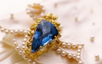 stone, ring, gold, decoration, sapphire