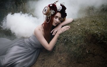 flowers, nature, girl, dress, pose, fog, brunette, roses, smoke, sleep, fairy, hill, wreath, decoration, nymph