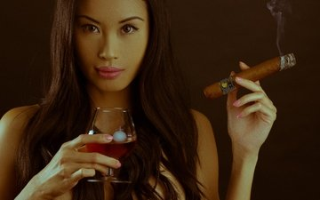 girl, background, look, smoke, glass, face, cigar, icicle