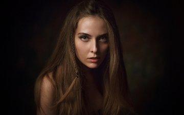 девушка, фон, портрет, взгляд, губы, нос, шатенка, боке, косичка, длинноволосая, волос, амина катинова, amina