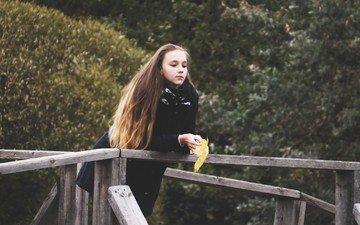 девушка, мост, осень, лист, клен