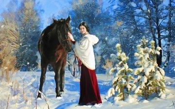 лошадь, снег, лес, зима, картина, парк, прогулка, елочки, конь, живопись, дама
