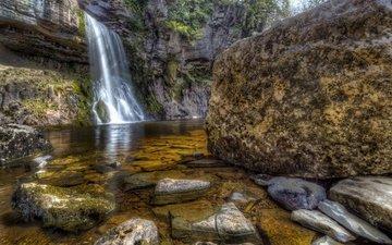 скалы, камни, водопад, великобритания, hdr, thorton force waterfall