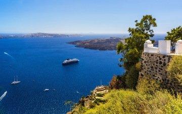 море, горизонт, яхты, панорама, вид сверху, побережье, греция, лайнер, санторин, круизный