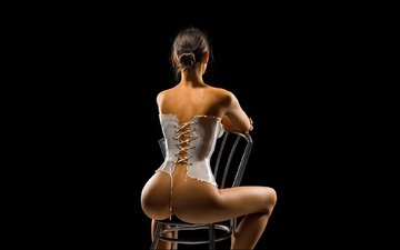 девушка, корсет, на стуле, таинственная