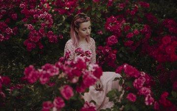 цветы, девушка, грусть, лицо