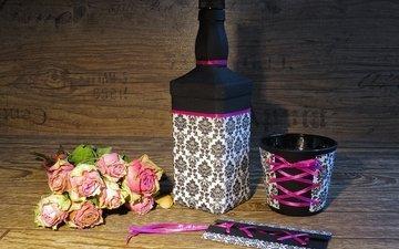 розы, чашка, бутылка, конверт, натюрморт, цветы, роз, гербарий