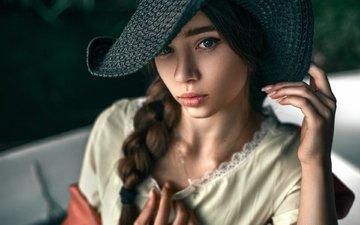 девушка, платье, портрет, модель, губы, лицо, коса, шляпа, ногти, боке, молодая, кареглазая, юлия, легкие, maks кузин