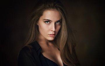 девушка, портрет, модель, рубашка, шатенка, длинноволосая, волос, амина катинова