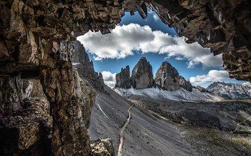 дорога, облака, горы, скалы, склон, италия, доломитовые альпы