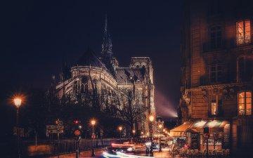 дорога, ночь, фонари, огни, париж, улица, дворец, франция, нотр-дам