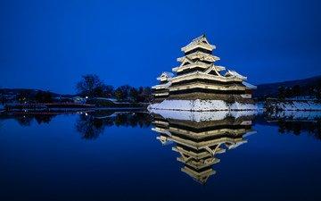 небо, ночь, вода, снег, зима, отражение, япония, синева, японии, нагано, префектура нагано, город мацумото, замок мацумото, замок ворона