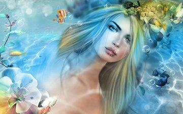 вода, девушка, рыбки, русалка