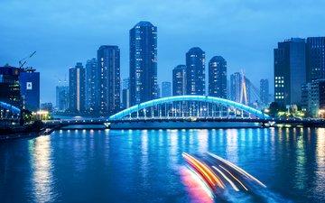 the sky, lights, the evening, river, clouds, bridge, japan, skyscrapers, megapolis, backlight, twilight, blue, excerpt, tokyo, capital