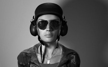 пилот, шлем, очки, деввушка