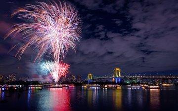 ночь, огни, река, салют, мост, япония, ночной город, праздник, фейерверк, токио, столица