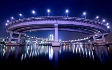 ночь, фонари, огни, отражение, мост, япония, залив, подсветка, токио, столица