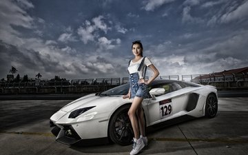 pose, model, asian, lamborghini, sports car, supercar, aventador, lamborghini aventador, lamborghini aventador lp 700-4