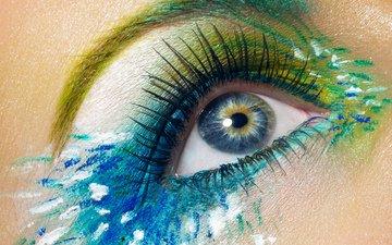 глаз, макияж, тени, ресницы, крупным планом, взор, грим