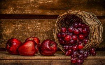 виноград, фрукты, яблоки, корзина, ягоды