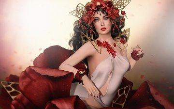 украшения, девушка, цветок, лепестки