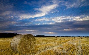 небо, облака, вечер, тучи, поле, сено, великобритания, англия, урожай, синее, солома, тюки, графство, норфолк