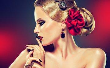 украшения, девушка, блондинка, лицо, макияж