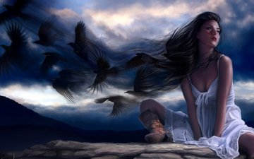 clouds, girl, dress, birds, the wind, white