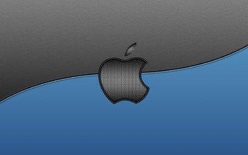 текстура, серый, голубой, логотип, линия, компьютер, эппл