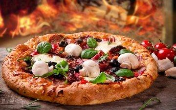 грибы, сыр, пицца, брынза, ветчина, быстрое питание, боровики